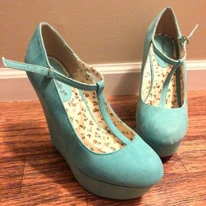 Mint Green Mary Jane Wedges